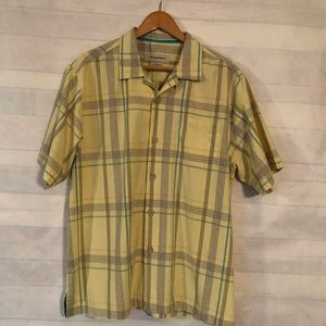 Tommy Bahama Yellow , Green , Plaid Shirt Size L